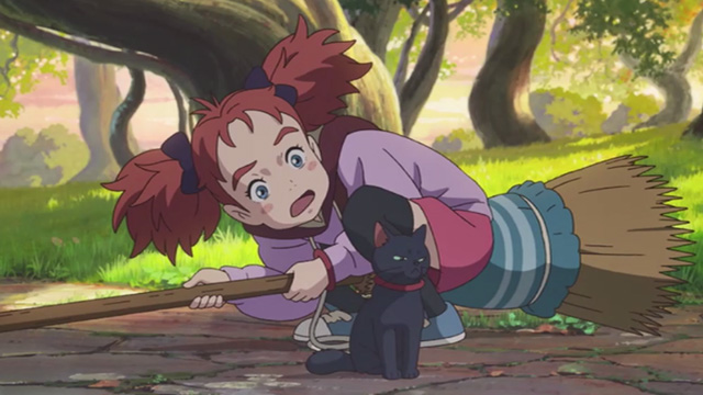 Mary and the Witch's Flower - Mary pleading with black cat Tib who does not want to leave Endor