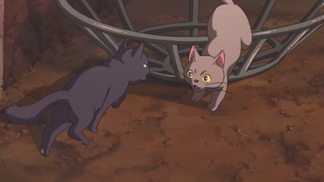 Mary and the Witch's Flower - black cat Tib greeting gray cat Gib as she emerges from cage