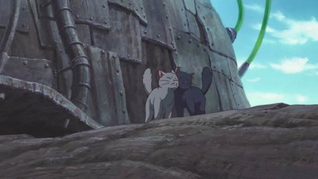 Mary and the Witch's Flower - black cat Tib and gray cat Gib pressing cheeks together