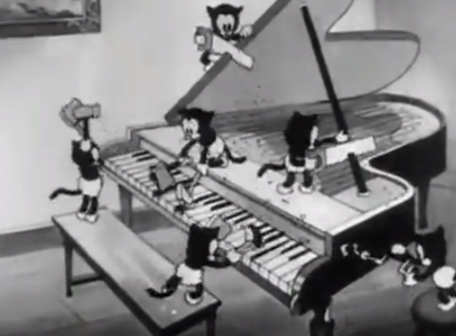 Mickey's Orphans - kittens destroying piano with tools