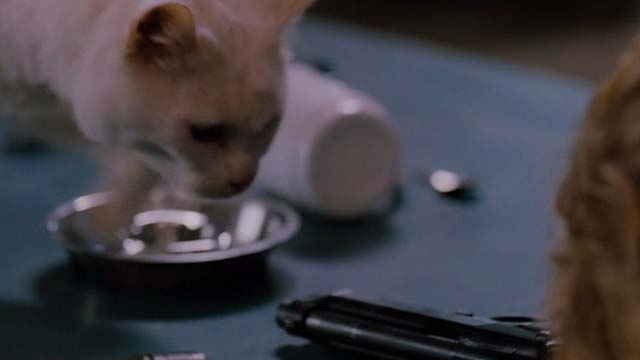 Mindhunters - white cat sniffing around table