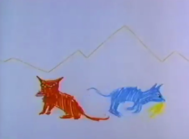 Moon Breath Beat - red and blue cat catching birds
