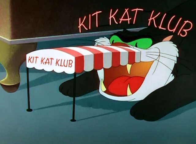 The Mouse That Jack Built - cartoon cat posing as Kit Kat Club from side