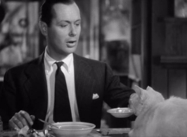 Mr. and Mrs. Smith - David Robert Montgomery holding bowl of soup up to white cat on table