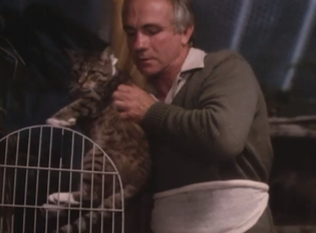 Mr. Love - Donald Lovelace Barry Jackson removing tabby cat wearing bandage from cage