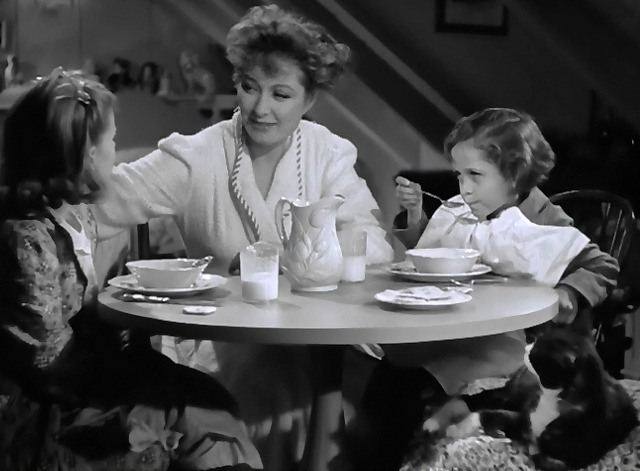 Mrs. Miniver - tuxedo cat Napoleon sitting at table with Greer Garson and children
