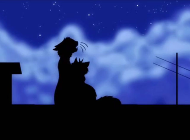 Musical Cats - male and female cartoon cats silhouetted against night sky
