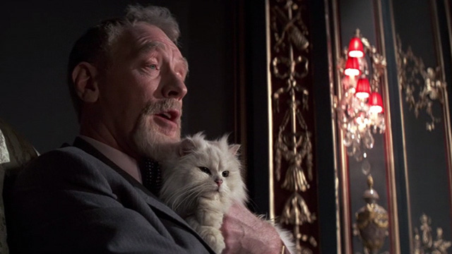 Never Say Never Again - close on Blofeld Max von Sydow on chair holding white Angora cat