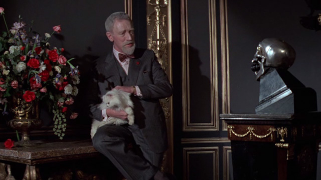 Never Say Never Again - Blofeld Max von Sydow recording video with white Angora cat