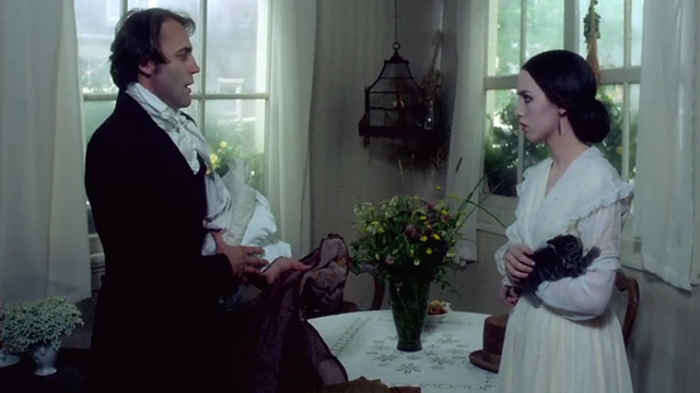 Nosferatu the Vampyre - Jonathan Harker Bruno Ganz with Lucy Isabelle Adjani holding tabby and white kitten
