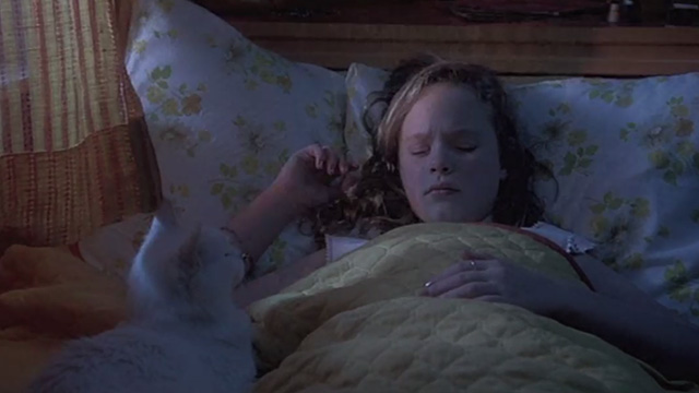 Now and Then - Teeny Thora Birch lying in bed with white cat