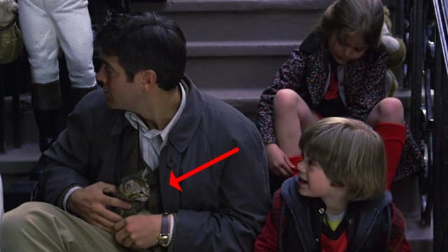 One Fine Day - Bob tabby kitten held by Jack George Clooney on steps with Maggie Mae Whitman and Sammy Alex D. Linz