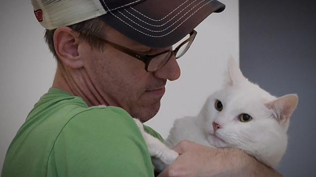 One Year Lease - white cat Casper held by Tom