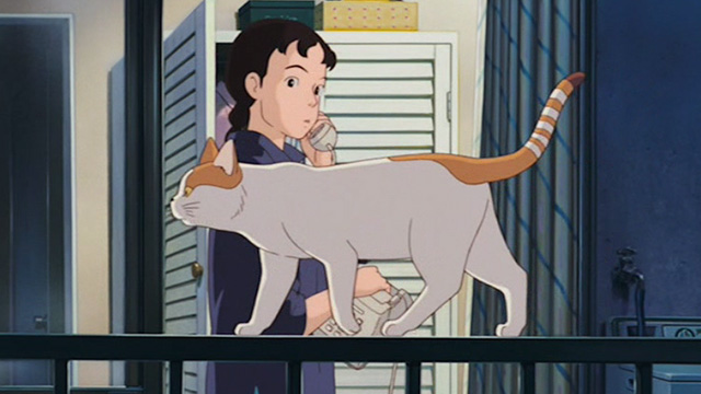 Only Yesterday - orange and white cat walking by Taeko on apartment balcony railing