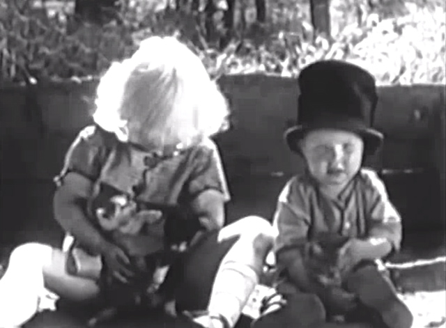 Our Gang - Playin' Hookey - Jean Darling and Wheezer playing with kittens
