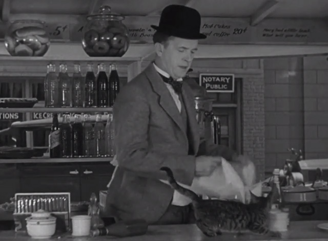 Pack Up Your Troubles - tabby kitten on lunch counter in front of Stan Laurel