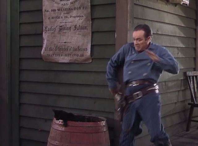 The Paleface - Painless Potter Bob Hope startled by black cat coming out of barrel