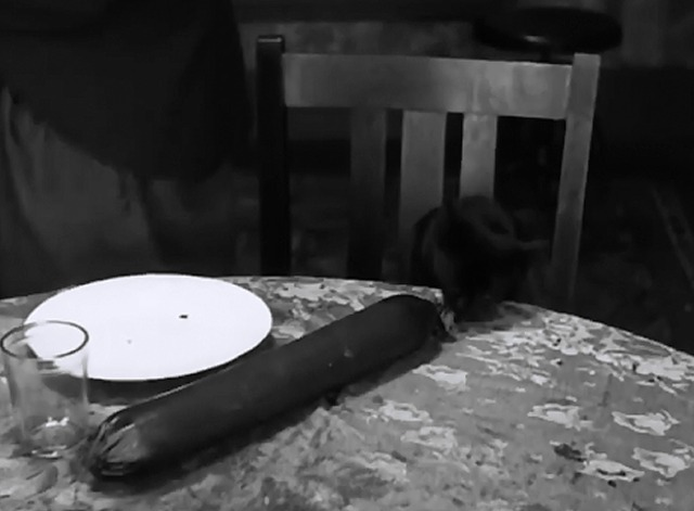 Pay Day - black cat steals sausage