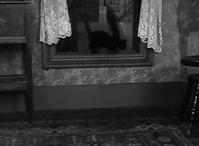 Pay Day - black cat runs out window with sausage