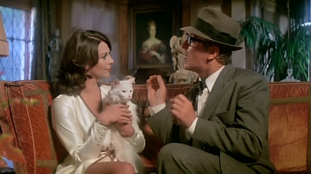Peeper - Natalie Wood and Michael Caine with white cat on couch