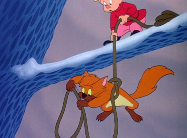 Peter and the Wolf - Peter lowering Ivan the cat from tree on rope