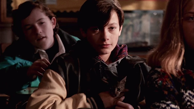 Pet Sematary Two - tabby kitten Tiger hidden in jacket by Jeff Edward Furlong at school