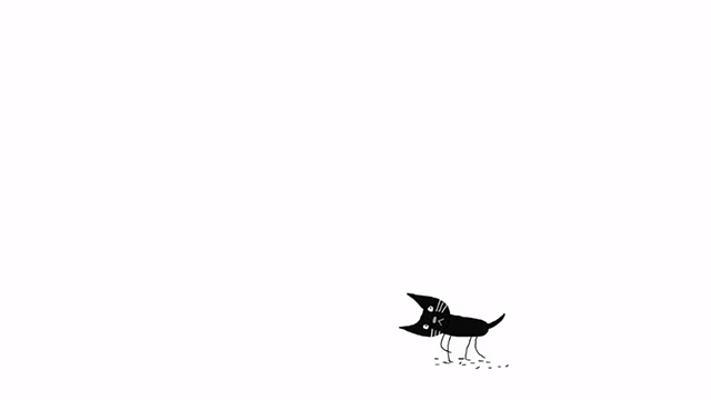 Pickle - cartoon of small black cat with crooked neck
