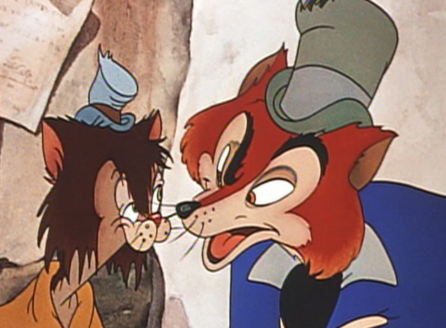 Pinocchio - Gideon the vagabond cat with Honest John the fox