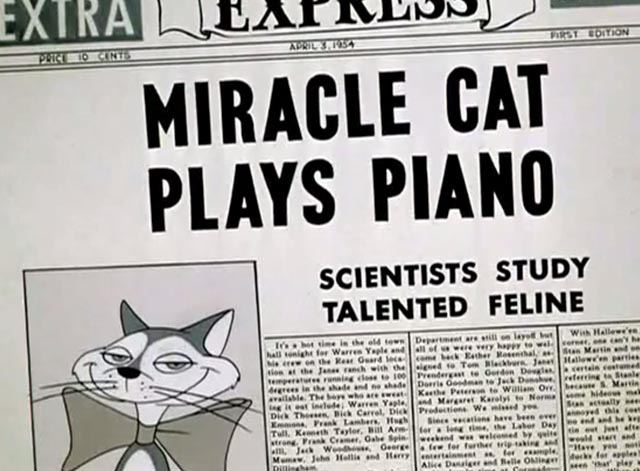 Pizzycato Pussycat - Miracle Cat Plays Piano newspaper headline
