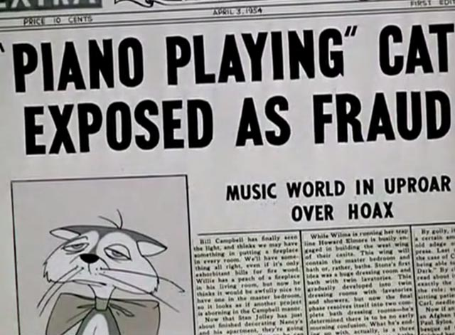 Pizzycato Pussycat - Piano Playing Cat Exposed as Fraud newspaper headline