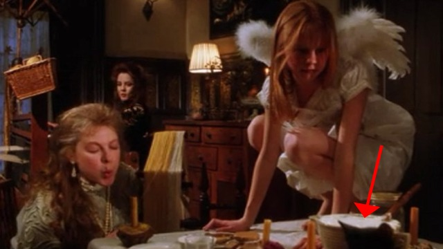 Practical Magic - black kitten on kitchen table with Gillian Lora Anne Criswell and Dianne Wiest