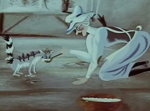 A Rainy Story - cartoon gray white and black tabby cat being fed dough by woman