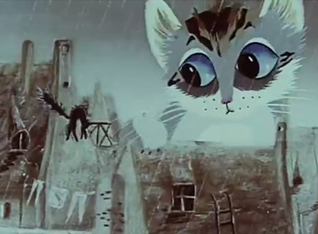 A Rainy Story - giant cartoon gray white and black tabby cat scaring black cat