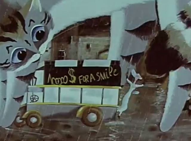 A Rainy Story - giant cartoon gray white and black tabby cat scaring people in bus