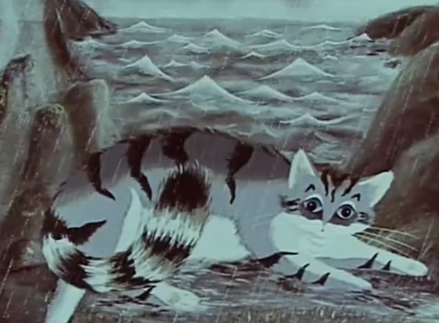A Rainy Story - giant cartoon gray white and black tabby cat blocking water