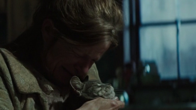 Regression - Grandma Rose Dale Dickey crying and hugging gray tabby cat Lacy