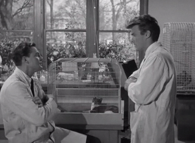 Revenge of the Creature - cat and rats in cage with Professor Clete John Agar and Clint Eastwood