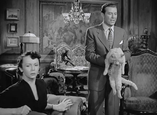 Rhubarb - Rhubarb orange tabby cat held by Eric Yeager Ray Milland with Myra Banner Elsie Holmes