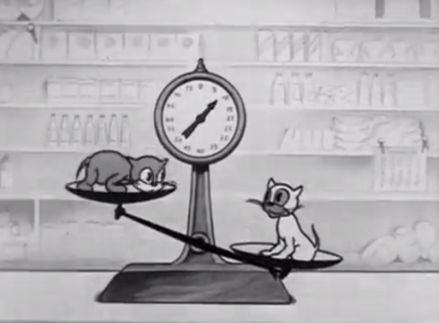 Rough on Rats - cartoon kittens playing teeter totter on scales