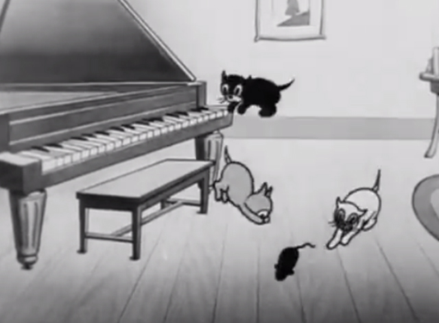 Rough on Rats - cartoon kittens playing by piano with catnip mouse