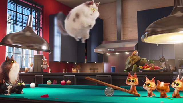 The Secret Life of Pets - cats catapulting kittens at party