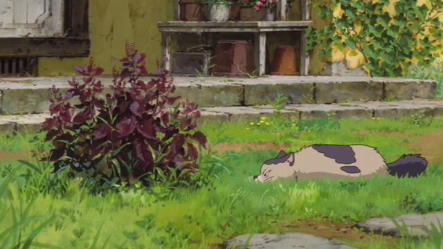 The Secret World of Arrietty - Niya cat stalking something in bush