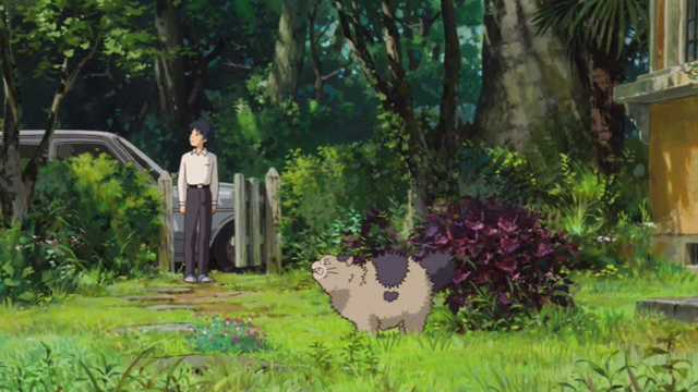 The Secret World of Arrietty - Niya cat bristling fur as Sho watches