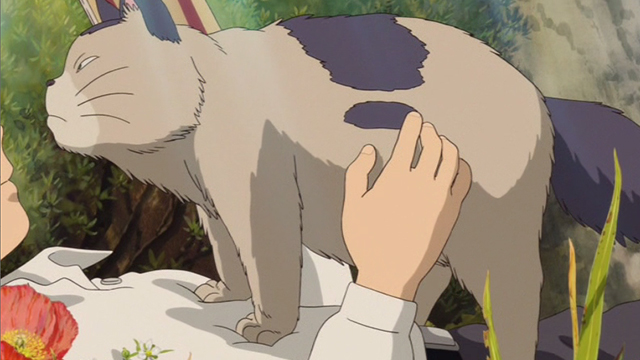 The Secret World of Arrietty - Niya cat standing up on Sho and looking anxious