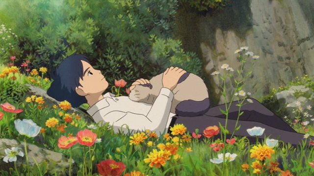 The Secret World of Arrietty - Niya cat settling down on Sho's chest