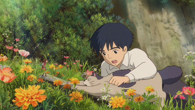 The Secret World of Arrietty - Sho holding back Niya cat and keeping her from attacking Arrietty
