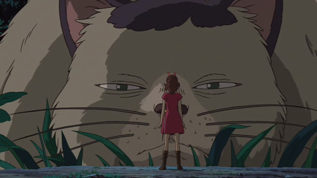 The Secret World of Arrietty - Arrietty standing in front of Niya cat