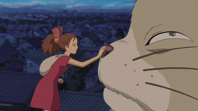 The Secret World of Arrietty - Arrietty petting Niya cat on nose