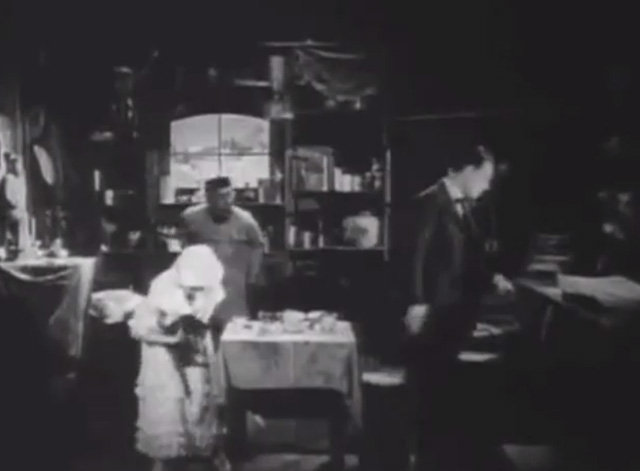 Shadows - Sympathy Marguerite De La Motte getting up from table with bengal tabby cat with Minister Maldon Harrison Ford and Yen Sing Lon Chaney
