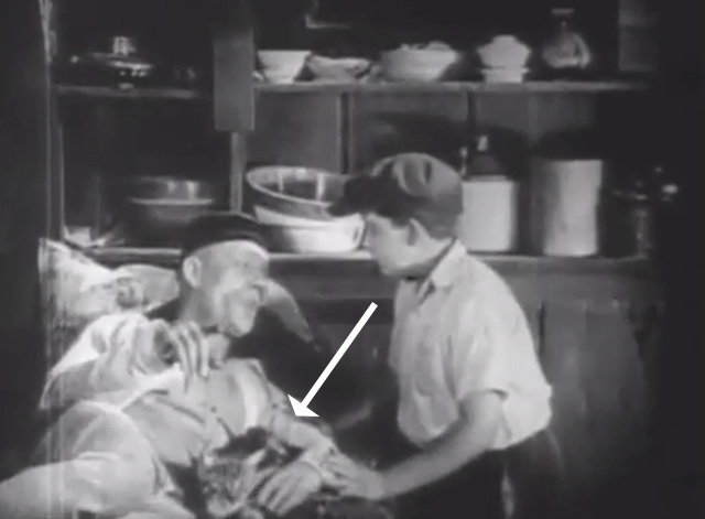 Shadows - Yen Sing Lon Chaney lying on death bed with Bengal tabby cat at his side and boy Buddy Messenger